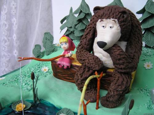 """Торт Маша и медведь ближе  """"Ловись рыбка."""